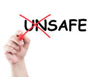 Unsafe into safe. Text unsafe into safe written on transparent screen and white background and copy space Royalty Free Stock Photo