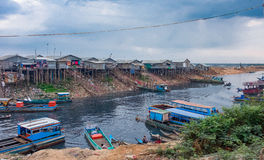 Unsanitary living conditions on lake Tonle Sap. CAMBODIA Stock Photography