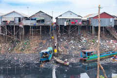 Unsanitary living conditions on lake Tonle Sap. Siem reap, CAMBODIA - January 72015: Unsanitary living conditions on lake Tonle Sap, CAMBODIA Royalty Free Stock Images