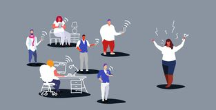 Unsatisfied fat woman boss screaming on employees sitting in gadgets bad job concept angry employer shouting workers. Sketch horizontal vector illustration royalty free illustration