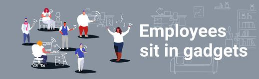 Unsatisfied fat woman boss screaming on employees sitting in gadgets bad job concept angry employer shouting workers. Modern workspace office interior sketch stock illustration