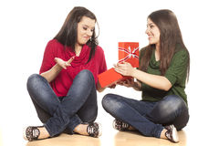 Unsatisfied by the gift Stock Photo