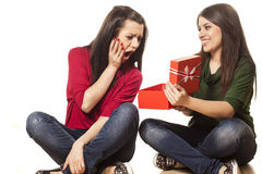 Unsatisfied by the gift royalty free stock photography
