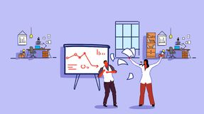 Unsatisfied woman boss throwing paper documents screaming on frustrated man worker bad job concept angry employer. Shouting employee modern office interior stock illustration