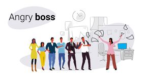 Unsatisfied woman boss throwing paper documents screaming on frustrated workers bad job concept angry employer shouting. Employees co-working office interior royalty free illustration