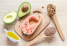 Unsaturated fats. Examples of food with unsaturated fats Royalty Free Stock Photography