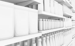 Supermarket Shelf With Generic Products vector illustration