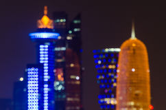 Unscharfe abstrakte Hintergrundlichter Dohas Skyline Stockbilder
