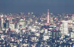 Unscharfe abstrakte Hintergrundlichter von schönem Tokyo-Stadtbild Lizenzfreie Stockfotos