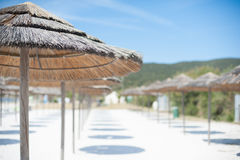 Unscharfe Ansicht des Strandurlaubsorts Stockfotografie