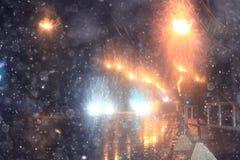 Unscharfe Hintergrundnachtstadtlichter Lizenzfreie Stockfotografie