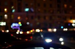 Unscharfe Landschaft der Nachtstadt Lizenzfreies Stockbild