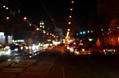 Unscharfe Landschaft der Nachtstadt Stockfotografie