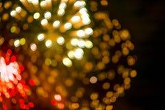 Unscharfe Lichter von den Feuerwerken Lizenzfreie Stockfotografie