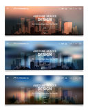 Unscharfe polygonale Titel-Schieber Webdesign-Ausrüstung mit Stadt-Skylinen stock abbildung