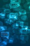 Unscharfer defocused Hintergrund des blauen Chats lizenzfreie stockfotos