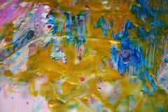 Unscharfer goldener blauer Hintergrund, klarer Hintergrund des Aquarells, Beschaffenheit Lizenzfreie Stockfotografie