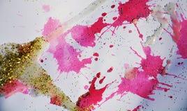 Unscharfer goldener rosa silbriger Hintergrund, wächserner Winterhintergrund Stockbilder