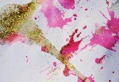 Unscharfer goldener violetter silbriger Hintergrund, wächserner Winterhintergrund Stockfotografie