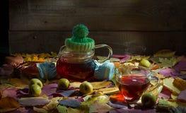 Unscharfer Herbstbaumhintergrund mit heißer dämpfender Tasse Tee stockbild
