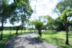 Unscharfer Hintergrund des nat?rlichen Baums im Park mit B?rgersteig stockfotografie