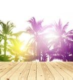Unscharfer Hintergrund, Sonnenaufgang am Kokosnussbaum mit Holzfußboden Lizenzfreie Stockfotos