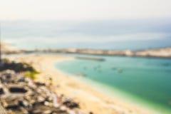 Unscharfer Hintergrundstrand Dubai-Jachthafen Lizenzfreie Stockfotos