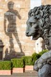 Unscharfer Schatten von Michelangelo& x27; s David Marblelion im foregr Stockfotos