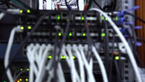 Unscharfer Server Anzeichen ?ber Operation der Netzwerkausr?stung Lan Network Connection Video enth?lt Ersch?tterung stock video footage