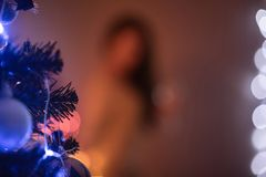 Unscharfer Weihnachtshintergrund für eine Aufschrift lizenzfreies stockfoto