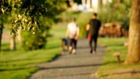 Unscharfes Aus-vonfokusclip von den jungen Paaren, welche zusammen die Hunde in den Park gehen stock footage