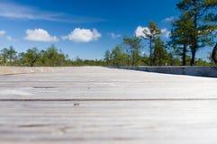 Unscharfes Nahaufnahmebild der hölzernen Promenade Stockfoto