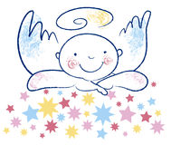 Unschuldiger Engel und Sterne Lizenzfreie Stockbilder