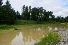 Unscrapedgedeelte in Bulatukan-rivier, Nieuwe Clarin, Bansalan, Davao del Sur, Filippijnen Stock Foto