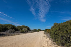 Unsealed Loop Road campground area, Coorong National Park in Sou. View of unsealed Loop Road campground area at Coorong National Park in South Australia Royalty Free Stock Photos