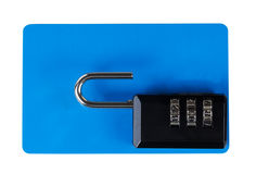 Unsecure lock on top of blank plastic card isolated on white Stock Image