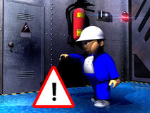 Unsecured. A flooded factory. Danger. A worker goes to the door of the electric installation to open it Stock Photography
