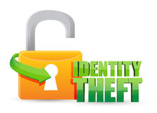 Unsecured identity theft Gold lock. Illustration design over a white background stock illustration