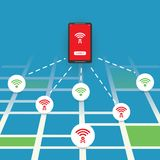 Unsecured Public Wireless Hotspot Design with Street Map - Wifi Security Breaches, Business Cybercrime Concept. Colorful Wifi Access Point Breach, Exploit Royalty Free Stock Image