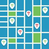 Unsecured Public Wireless Hotspots Design with Street Map - Wifi Security Breaches, Business Cybercrime Concept. Colorful Wifi Access Point Breach, Exploit Stock Images