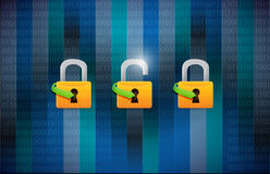 Unsecured and secured concept illustration. Design over a binary background royalty free illustration