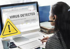 Unsecured Virus Detected Hack Unsafe Concept Stock Photo
