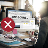 Unsecured Virus Detected Hack Unsafe Concept. Business Woman Checking Unsecured Virus Detected Hack Unsafe Stock Images