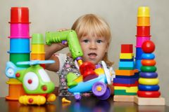 Unseen reality of the magic colorful world of toys stock photography