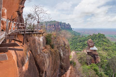 Unseen in thailand and amazing thailand,Phu tok mountain or Wat Jetiyakiree Viharn Temple. With wooden trail round of the 7 floors mountain at Bueng Kan stock photo