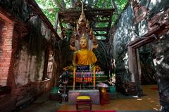 Unseen Thailand, Ang Thong Province. Wat Sangkratai. A part of monastery is covered sacred Royalty Free Stock Images