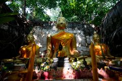 Unseen Thailand, Ang Thong Province. Wat Sangkratai. A part of monastery is covered sacred Royalty Free Stock Photography