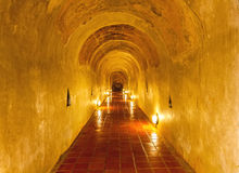 Unseen Thailand the old tunnel of Wat Umong Suan Puthatham temple Royalty Free Stock Images