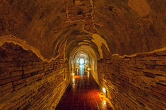 Unseen Thailand the old tunnel of Wat Umong Suan Puthatham temple in Chiang Mai, Thailand Stock Photo