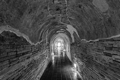 Unseen Thailand the old tunnel of Wat Umong Suan Puthatham temple in Chiang Mai, Thailand in black tone Stock Photos